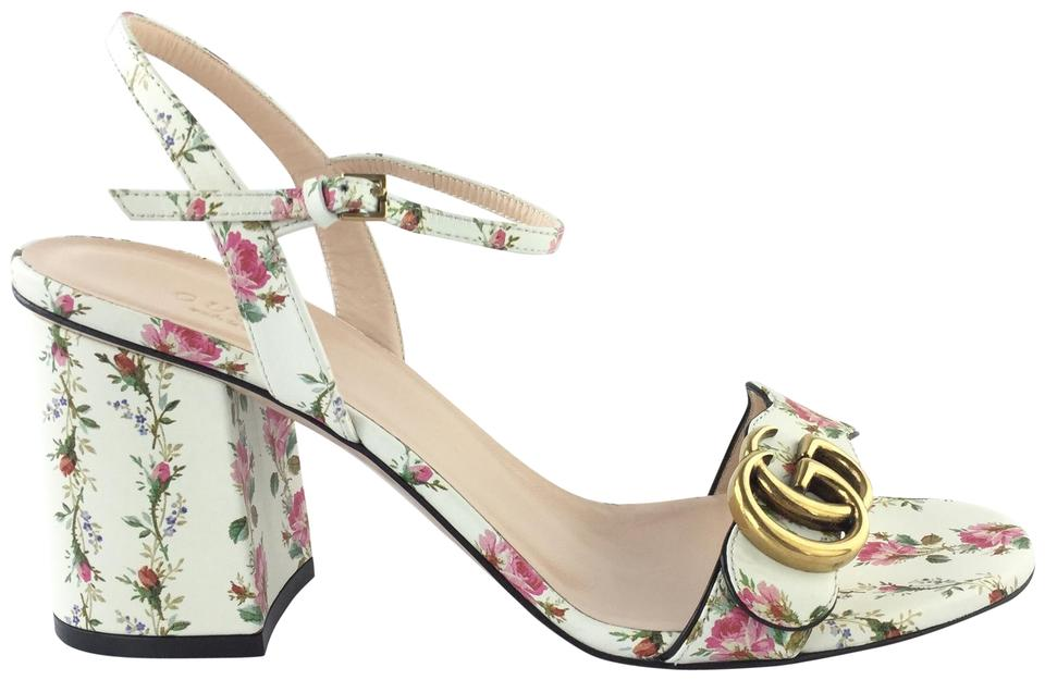 ce64fc5d1 Gucci White/Pink Floral Marmont Gold Ivory Ankle Strap Block Heels Pumps