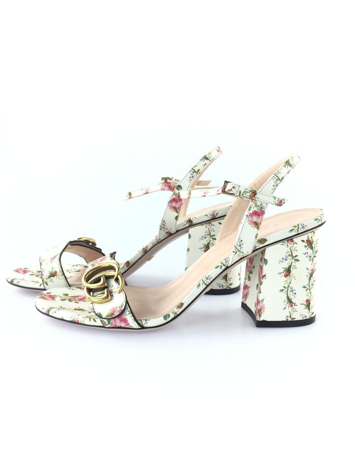a990b3f9f Gucci White/Pink Floral Marmont Gold Ivory Ankle Strap Block Heels Pumps  Size EU 39 (Approx. US 9) Regular (M, B) - Tradesy