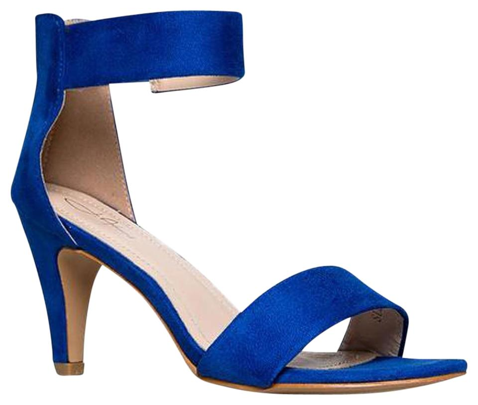 34855a817543 J. Adams Women Stylish Block Chunky Heel Royal Blue Suede Sandals Image 0  ...