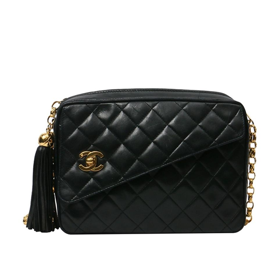 772b6b0f559709 Chanel Camera Case Vintage Quilted Tassel Black Lambskin Cross Body ...