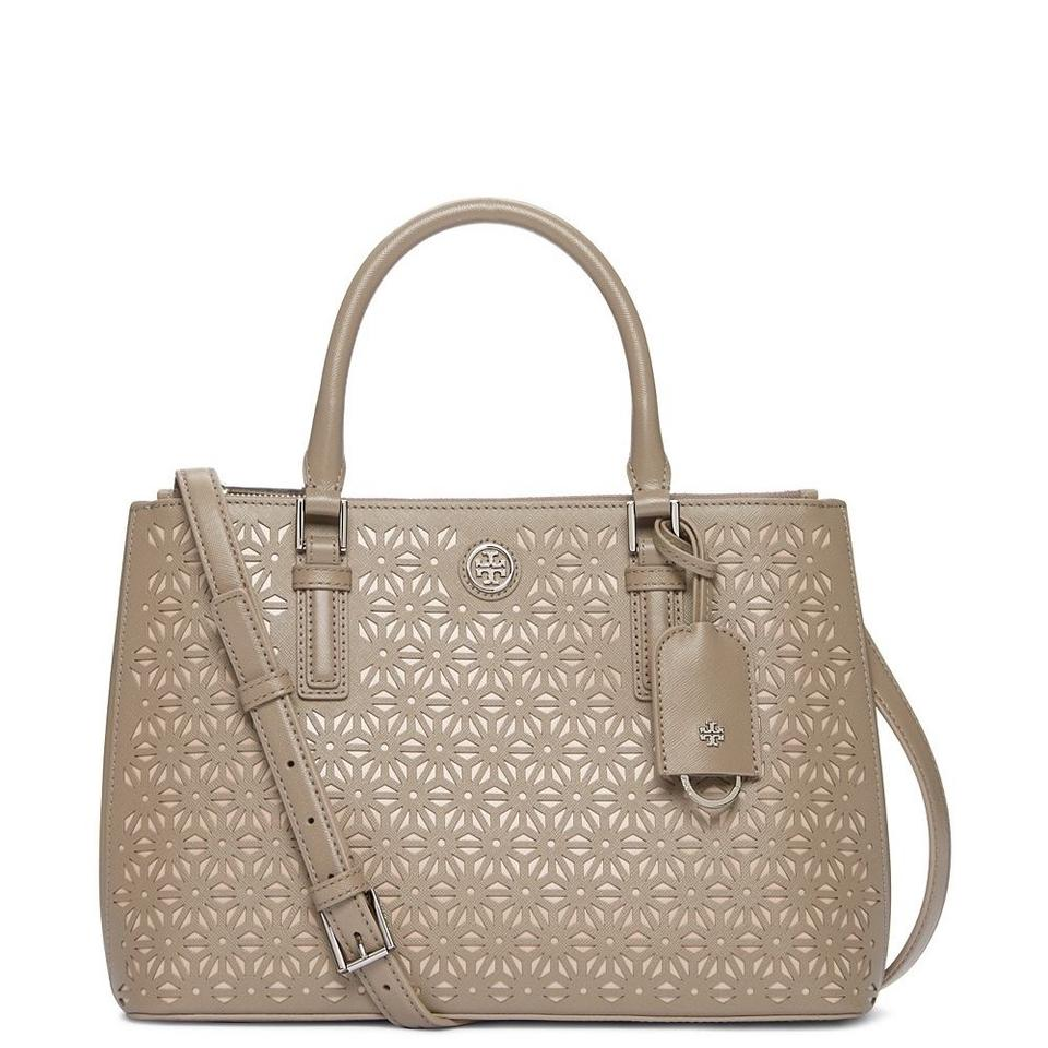 Tory Burch Robinson Floral Perforated Mini Double Zip Tote French ... 3abf6cd799f1c