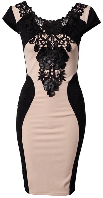 Item - Beige Black Coming Soon Patchwork Casual Business Wear Mid-length Formal Dress Size Petite 8 (M)