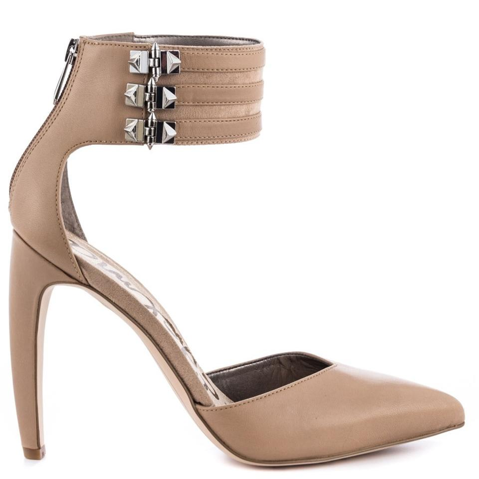 bb081a45c19b Sam Edelman Ankle Strap Pointed Toe Metallic Hardware Leather Beige Nude  Pumps Image 0 ...