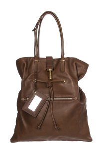 Balenciaga Tube Clasp Leather Papier A5 Lambskin Tote in brown