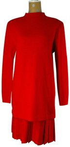 St. John Red Knit Sweater Pleated Skirt Suit Set