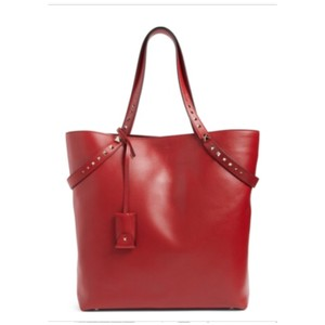 Valentino Rockstud Studded Leather Tote in Red