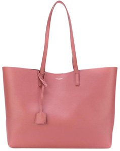Saint Laurent Black Shopper Shopping Tote in Pink