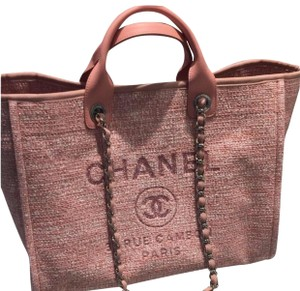 9ba6a24e97af Added to Shopping Bag. Chanel Tote in pink. Chanel Deauville Pink Canvas ...