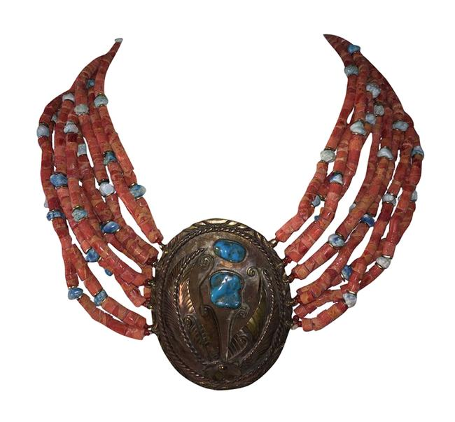 Item - Multicolor Massive Navajo Native American Sponge Red Coral Bead Turquoise Nugget Necklace