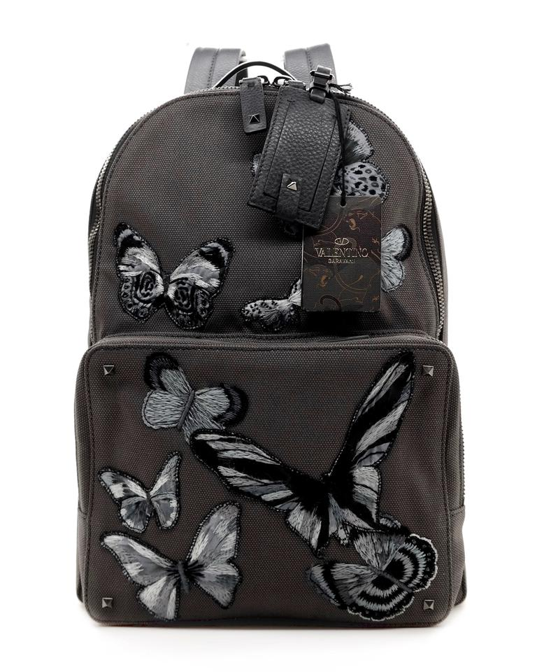 Valentino Rockstud Camo Butterflies Grey Canvas Backpack - Tradesy f32acecf6ff3d