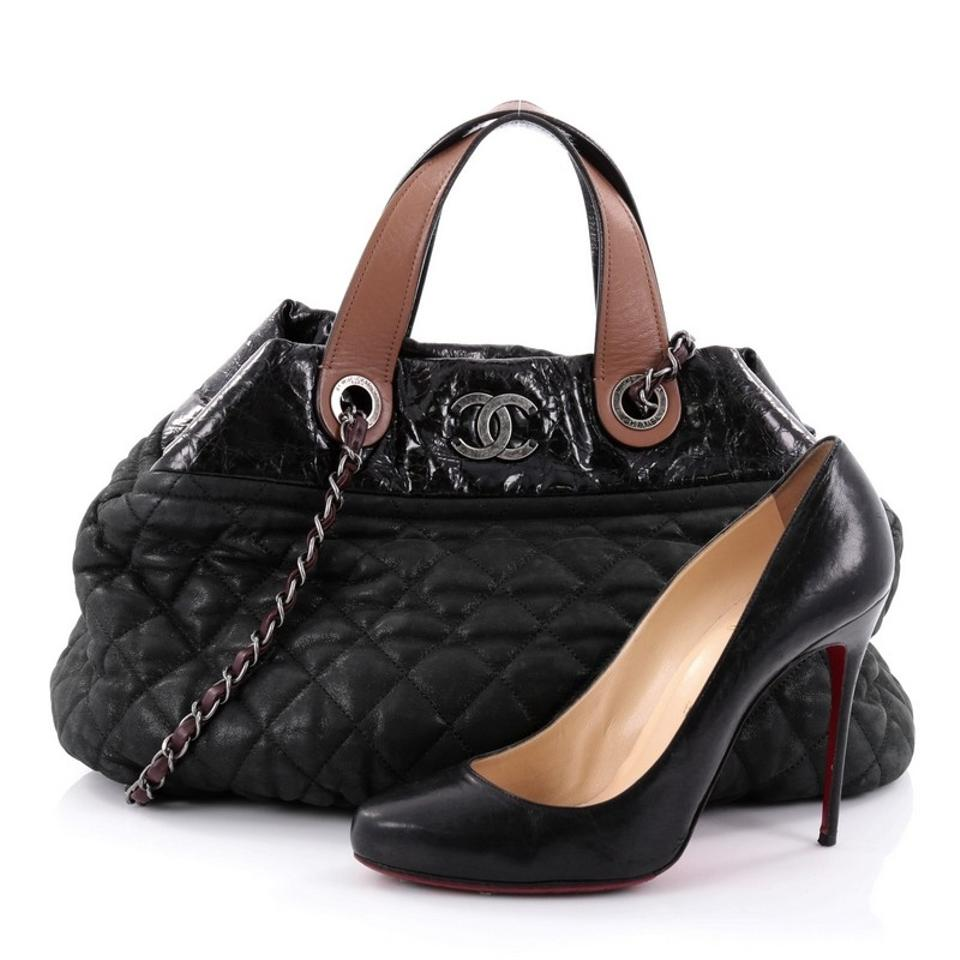 d5741c79c0a4 Chanel In The Mix Quilted Iridescent Large Black Calfskin Tote - Tradesy
