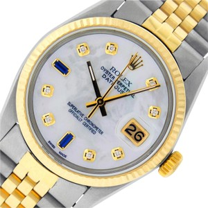 Rolex Mens Datejust Watch SS & Yellow Gold White MOP Diamond & Sapphire Dial