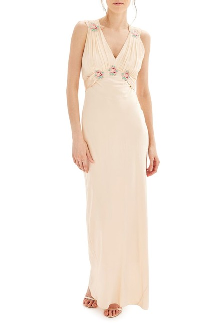 Topshop Nude Bride Embroidered Silk Gown Long Formal Dress Size 4 (S) Topshop Nude Bride Embroidered Silk Gown Long Formal Dress Size 4 (S) Image 1