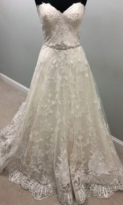 Maggie Sottero Ivory Lace Luna Traditional Wedding Dress Size 14 (L)