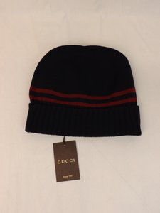 Gucci Blue / Red Lana Wool Web Stripes Beanie Ski Hat Xl 294731 Men's Jewelry/Accessory