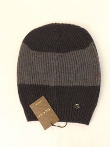 Gucci Gray Gg Logo Wool Beanie Ski Slouchy Hat #310777 Men's Jewelry and Accessories