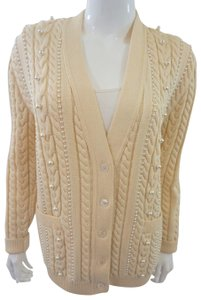 Escada Pearl Embellished Cable Knit Cardigan