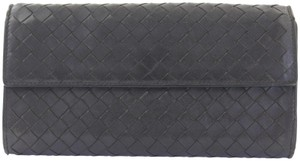 Bottega Veneta Signature Ebano Intrecciato Nappa Woven Leather Long Wallet