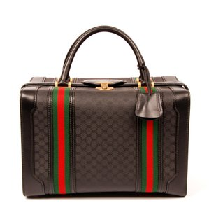 c762cfa3bd63 Gucci Monogram Canvas Boston Vintage Black Travel Bag