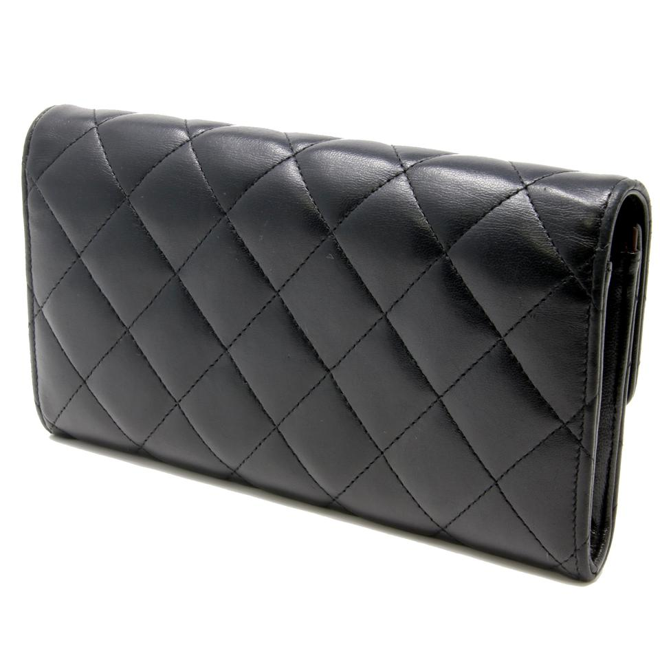 9ad0d11dc76655 Chanel Signature Lambskin Quilted Gusset Flap Black Large Wallet Image 9.  12345678910