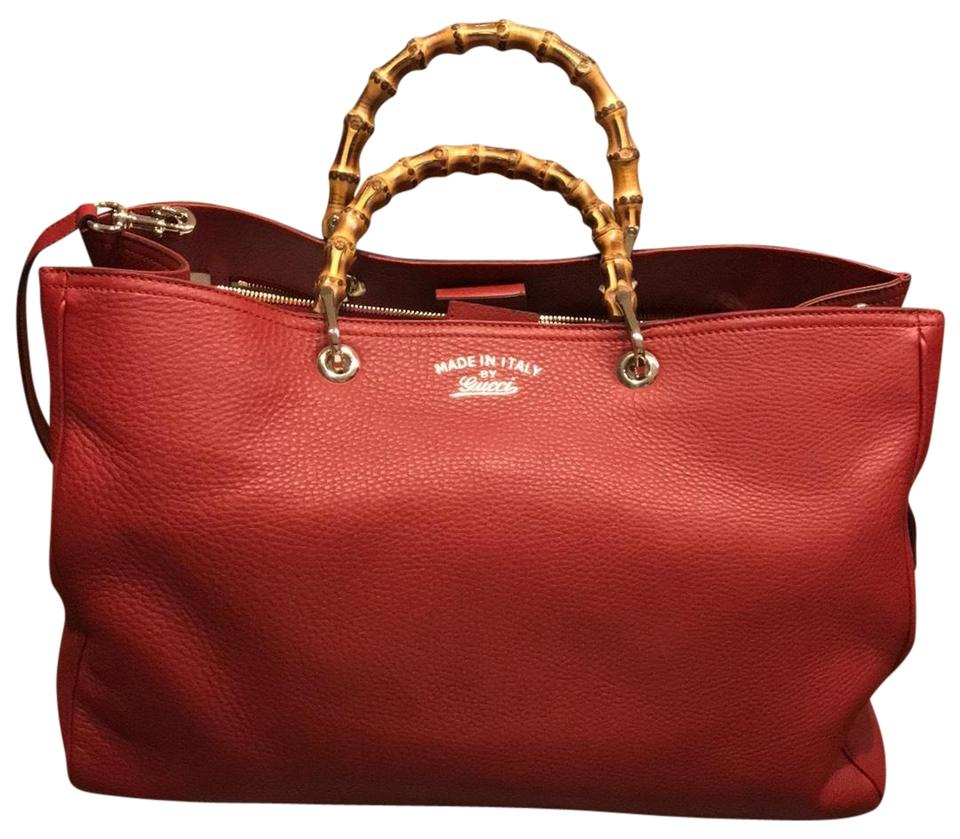 cc91df148fd Gucci Bamboo Shopper Red Leather Tote - Tradesy