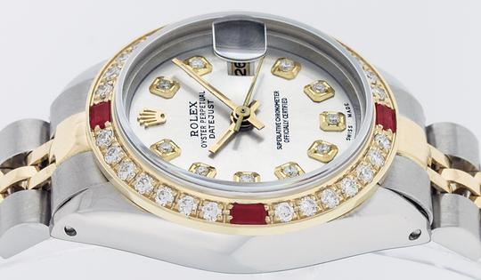Rolex Ladies Datejust Watch SS & 18K Yellow Gold Silver Diamond Dial Ruby
