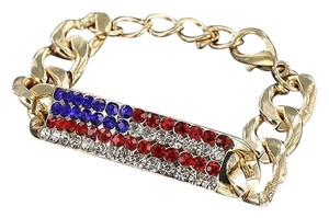 Other American Flag Rhinestone Crystal Gold Tone Chain Bracelet