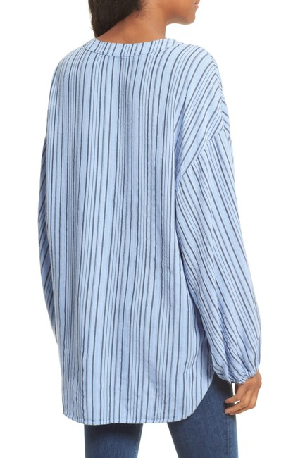 Free People Longsleeve Rayon Striped Tie Tunic