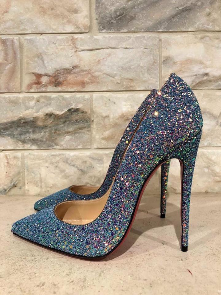 competitive price 077d1 af1a3 Christian Louboutin Blue So Kate 120 Pink Glitter Dragonfly Heel Pumps Size  EU 37.5 (Approx. US 7.5) Regular (M, B)