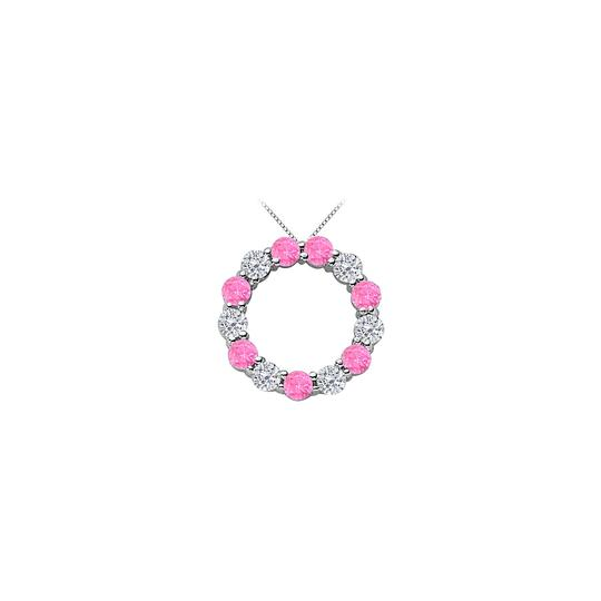 Preload https://img-static.tradesy.com/item/22554906/pink-silver-2-carat-simulated-created-sapphire-with-cz-circle-rho-necklace-0-0-540-540.jpg
