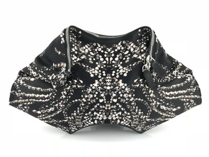 Alexander McQueen Holiday Date Night Satin Leather Crystal Printed Black Clutch