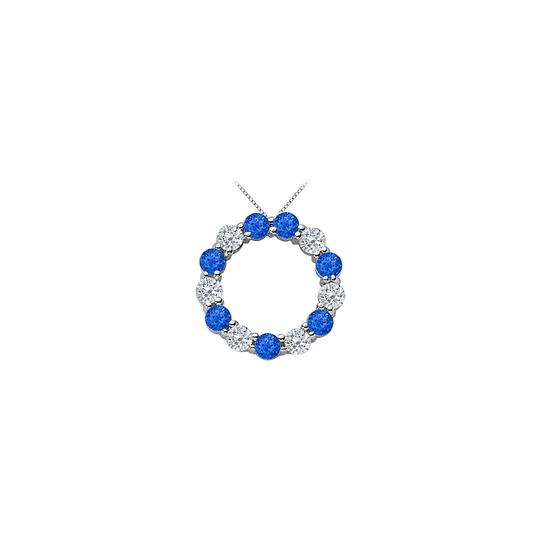 Preload https://img-static.tradesy.com/item/22554961/blue-silver-circle-of-life-eternity-pendant-with-2-carat-created-sapphire-and-necklace-0-0-540-540.jpg