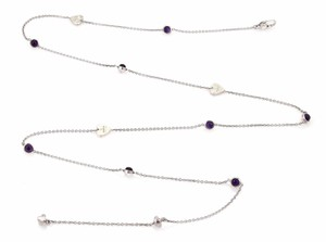 Gucci Amethyst Sterling Silver Hearts & Dots Chain Necklace