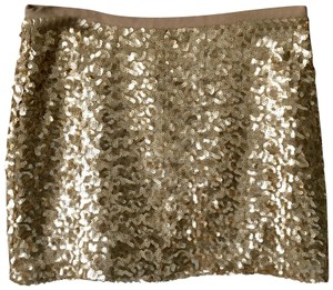 London Jean Statement Sequin Embellished Holiday Mini Skirt Gold
