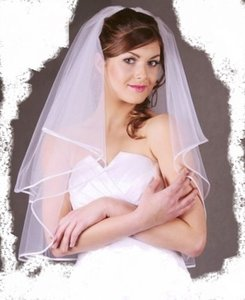 2t White Bridal Elbow Length Ribbon Edge Wedding Veil