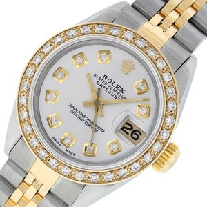 Rolex Pre-Owned Rolex Ladies Datejust SS & 18K Yellow Silver Diamond Watch