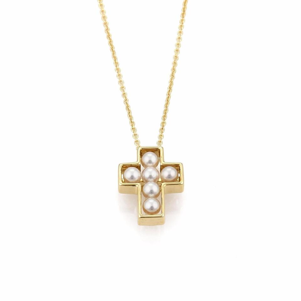 Mikimoto yellow white 21561 pearls 18k gold cross pendant chain mikimoto 21561 pearls 18k yellow gold cross pendant chain necklace audiocablefo