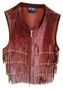 BEREK vest Fringed With Beads 100% Leather/suede Cardigan