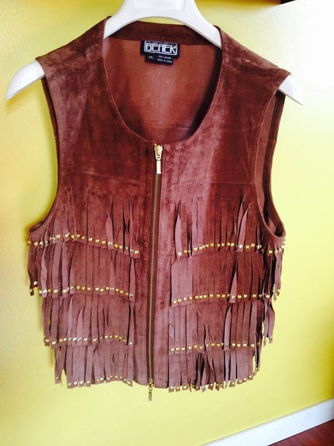 BEREK vest Fringed With Beads Leather/Suede Cardigan