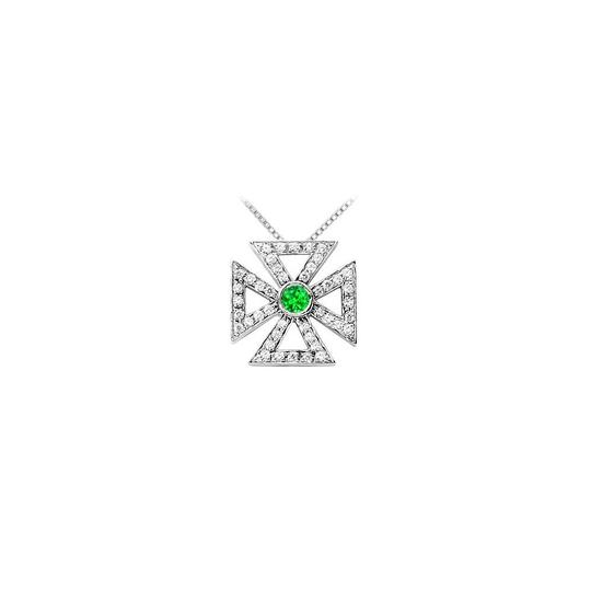 Preload https://img-static.tradesy.com/item/22555378/green-silver-925-sterling-maltese-cross-pendant-with-frosted-emerald-and-cub-necklace-0-0-540-540.jpg