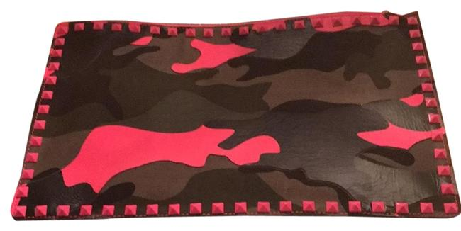 Item - Made In Milan Italy Black/ Black Dark Green and Pink Camo Leather Clutch