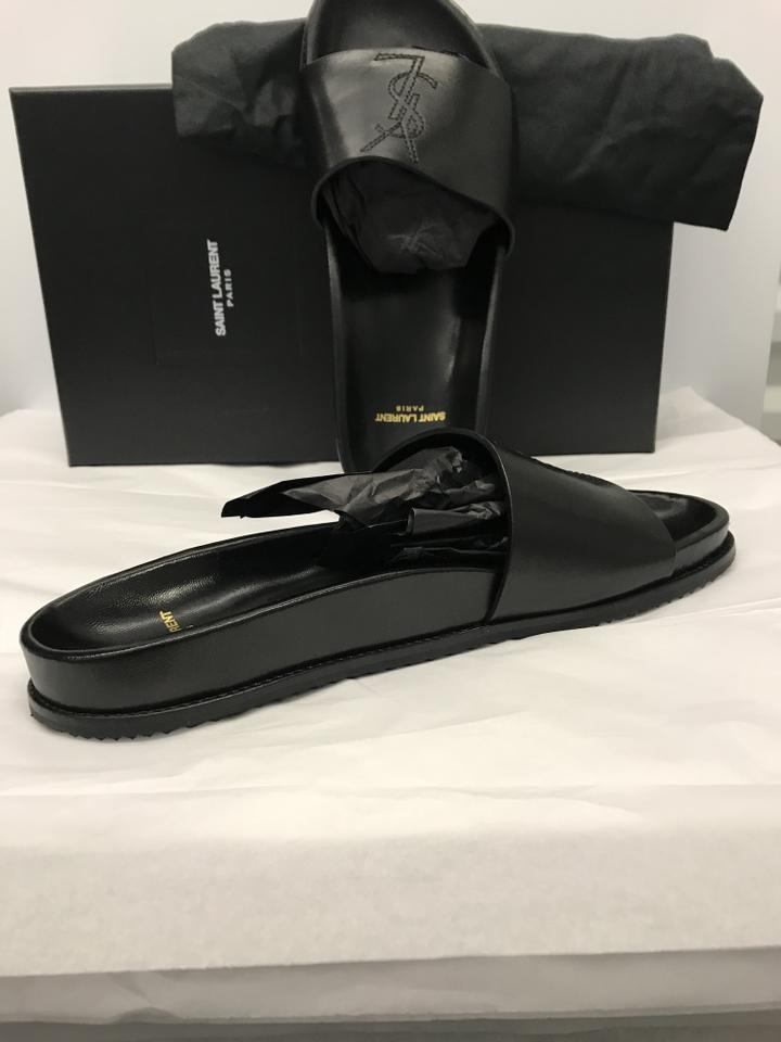 6527199ddf8 Saint Laurent Men s Slide Ysl Slide Womens Black Sandals Image 7. 12345678