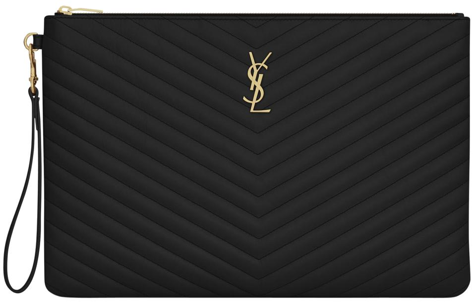 Saint Laurent Monogram Document Holder Matelasse Ysl Black Clutch Image 0  ... 6d621810a5ee2