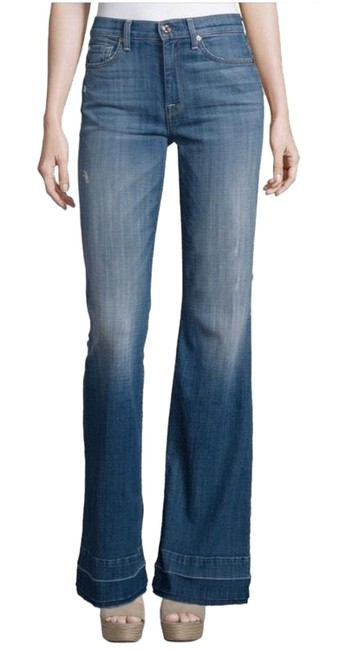 Item - Blue Distressed Ginger High Waisted Released Hem Flare Leg Jeans Size 27 (4, S)