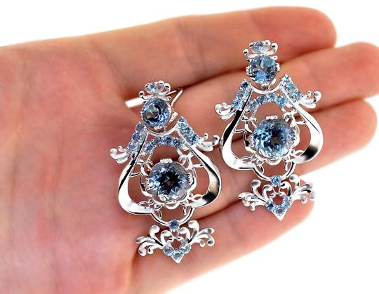 NY Collection Womens Blue Topaz Dangle Earrings 925 Sterling Silver 18.40 Carats