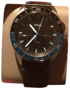 Fossil New Fossil Sport 54 Day Date Perforated Black Leather Strap Men Watch FS5321 New