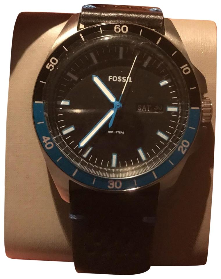 Fossil New Fossil Sport 54 Day Date Perforated Black Leather Strap Men Watch  FS5321 New ... 9b1a7a122e2