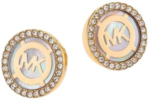 Michael Kors Nwt Logo Mother of Pearl Gold Tone Pave Stud Earrings