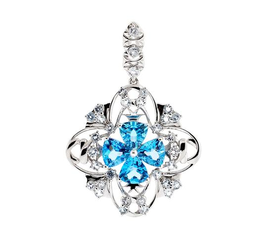 Preload https://img-static.tradesy.com/item/22555654/ny-collection-white-womens-blue-topaz-cluster-flower-pendant-925-sterling-silver-970-ct-charm-0-0-540-540.jpg