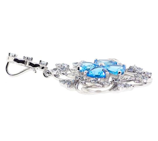 NY Collection Womens Blue Topaz Cluster Flower Pendant 925 Sterling Silver 9.70 ct